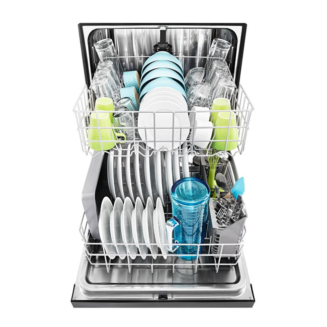 An image of an open dishwasher full of clean dishes.