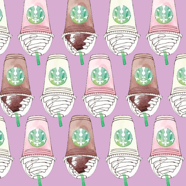 A repeating pattern of hand-drawn Starbucks coffee cups. Original image (I think) by transparentt on Tumblr.