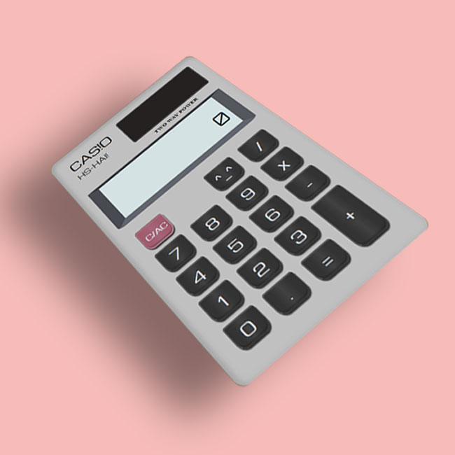 A photoshopped image of the calculator that I designed and coded for this project.