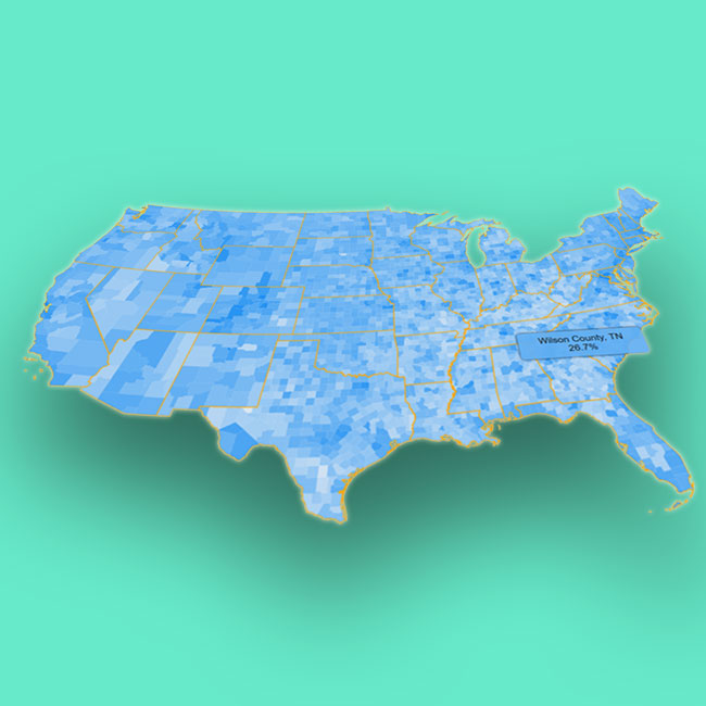 A photoshopped representation of the results of this project's visualization, showing a blue-tinged map of the USA's counties' higher education levels.