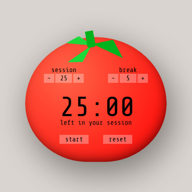 A picture of this project's pomodoro timer.