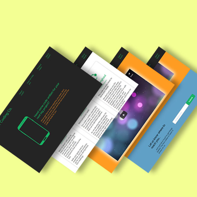 A composited picture showing postcard-shaped screenshots of different parts of this one-page product landing page project.